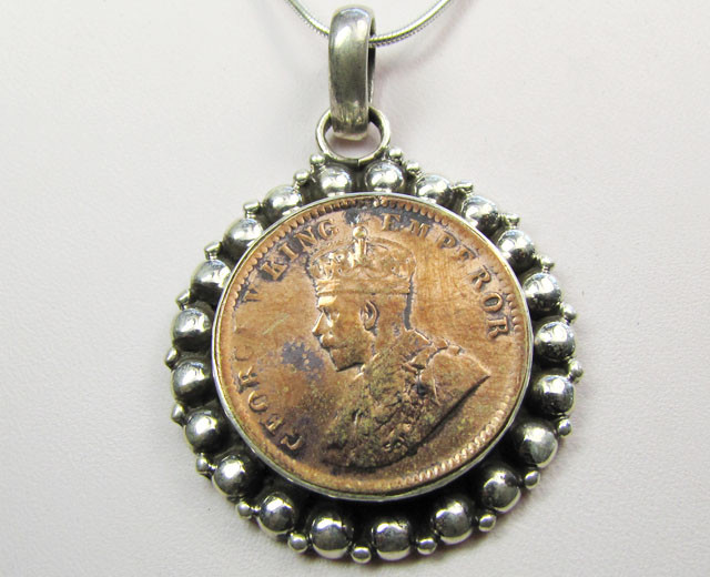 1936 COPPER COIN IN SILVER PENDANT CO 1104
