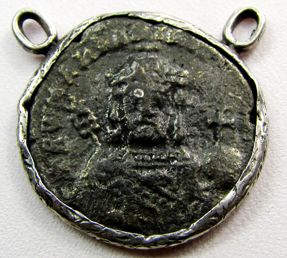 ANCIENT GREEK  BYZANTINE  COIN IN  PENDANT CO 1122