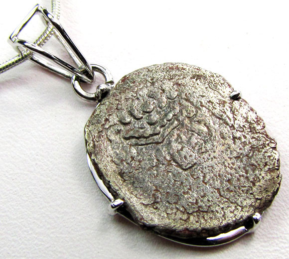 ANCIENT2000 YR OLD   COIN IN  SILVER PENDANT CO 1144