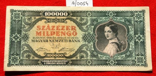 Hungary Százezer (100.000) Milpengő 1946. Pick 127