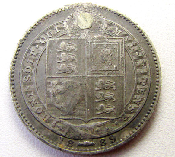 1889 .925 SILVER HOLED  UK COIN    CO 1253