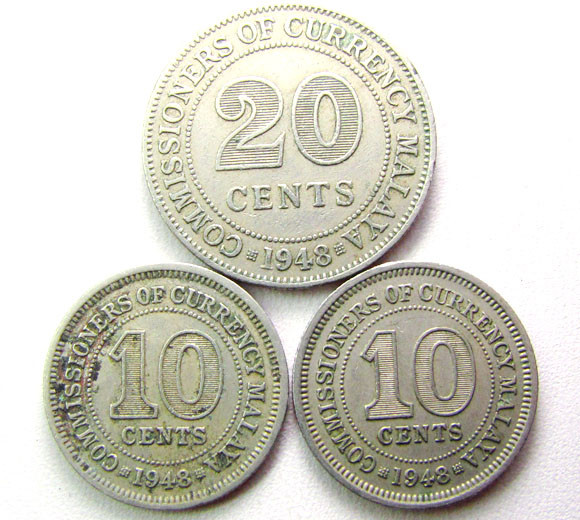 PARCEL 3 COINS 1948 10 N 20 CENTS COIN    CO 1270