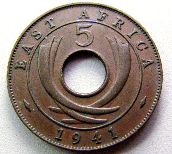 WAR COIN WW11   EAST AFRICA FIVE CENTS  1941COIN    CO 1276