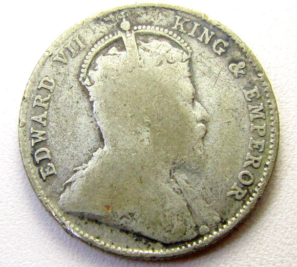1910 .600 SILVER  20 CENTS STRAITS COIN    CO 1282