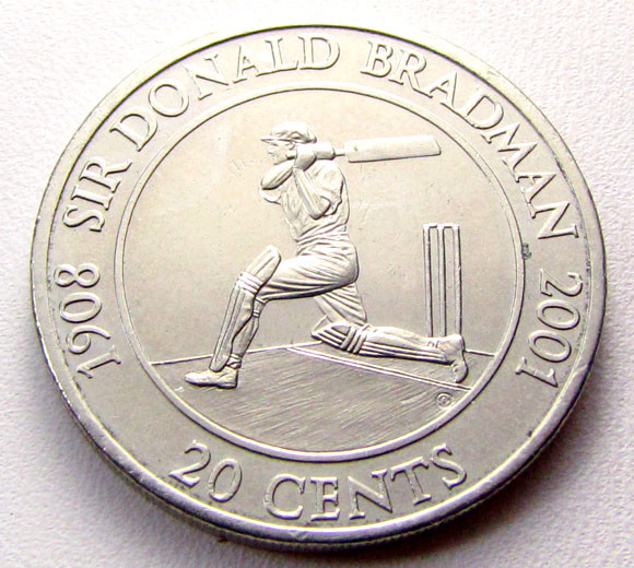 2001 DONALD BRADMAN .20 COIN    CO 1285