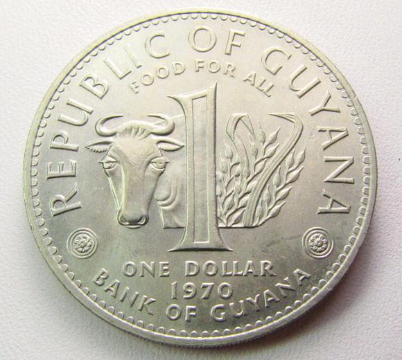 GUYANA 1970  ONE DOLLAR  UNC COIN    CO 1287