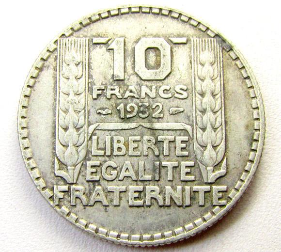 1932 10 FRANCVS .680 SILVER  COIN    CO 1296