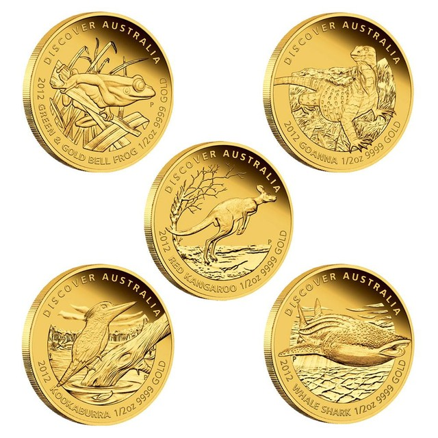 2012 Discover Australia 1 25oz Gold Set 5 1 25 Ounce