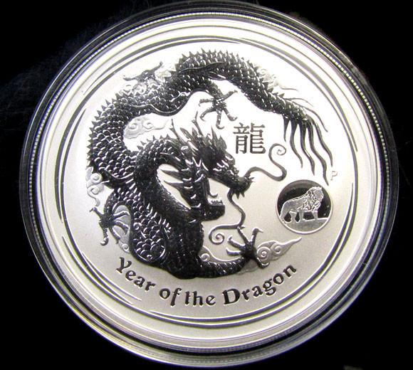 2012 AUSTRALIAN  ONE OUNCE DRAGON SILVER   COIN LION PRIVY