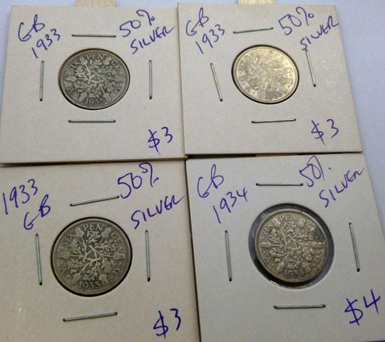 1933-34 PARCEL 4 UK  COINS 50% SILVER   CO 1314
