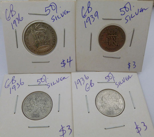 1936 PARCEL 4 UK  COINS 50% SILVER   CO 1315