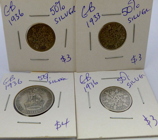 1936 PARCEL 4 UK  COINS 50% SILVER   CO 1316