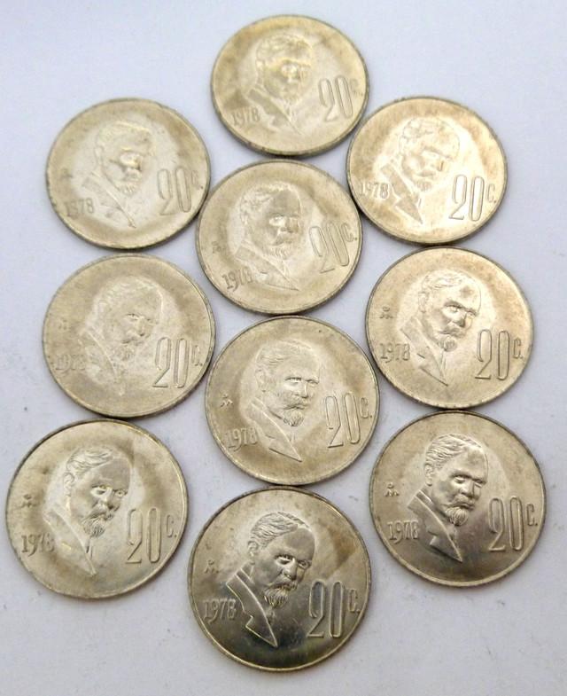 PARCEL 10UNCIRCULATED 1978 20 CENTAVOS COIN J 1981