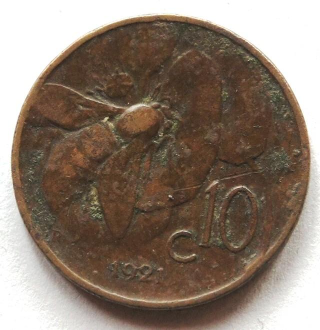 Italy 10 Centesimi-Vittorio Emanuele III: 1921 KM#60