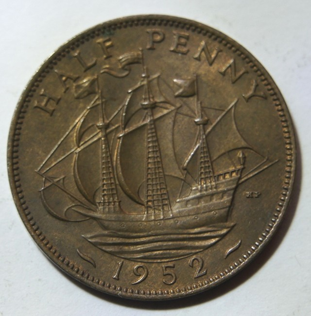 United Kingdom 1/2 Penny-George VI. 1952 KM#868