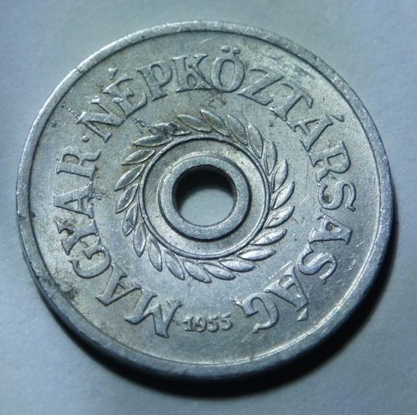 Hungary 2 fillér hole 1955 KM#546