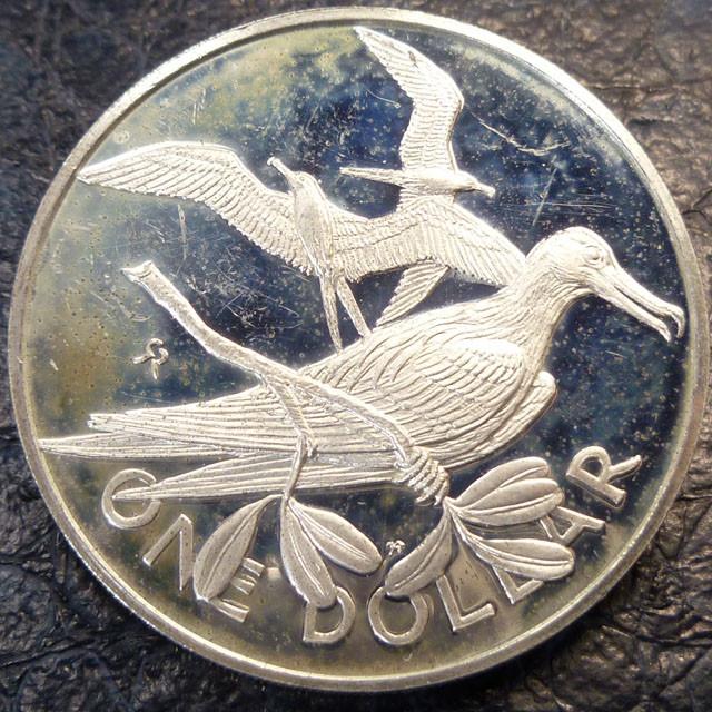 ONE DOLLAR BRITISH VIRGIN IS 1973 UN     SILVER COIN CO 1400