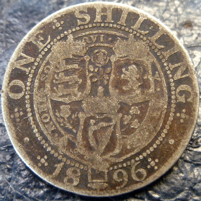 1896 ONE SHILLING   SILVER COIN CO 1408