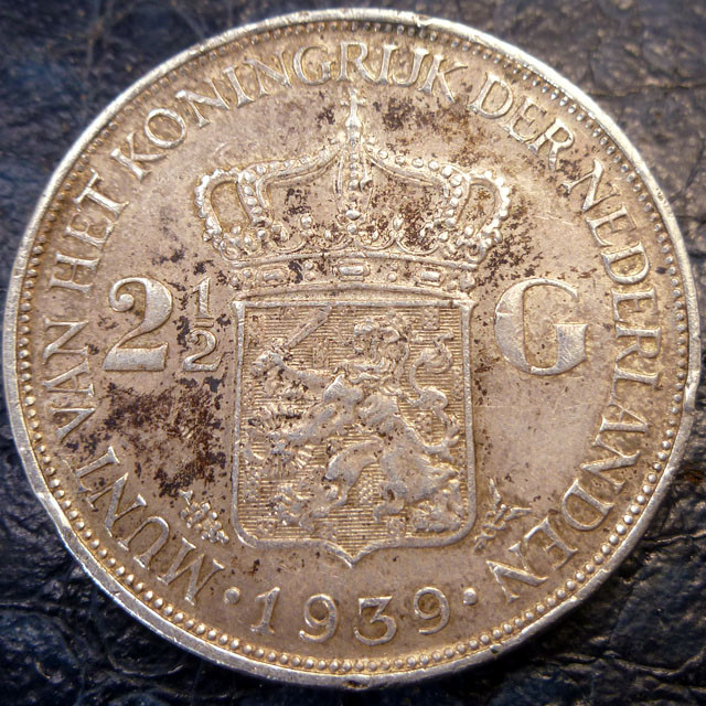 1939 HOLLAND  2/12 G .720     SILVER COIN CO 1418