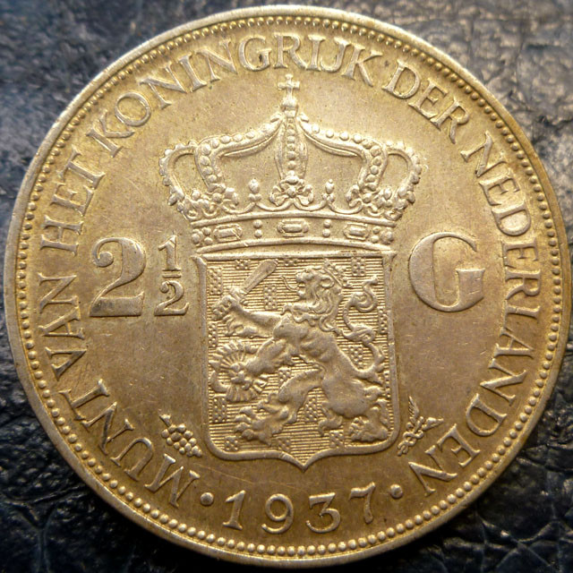 1937 HOLLAND  2/12 G .720     SILVER COIN CO 1419