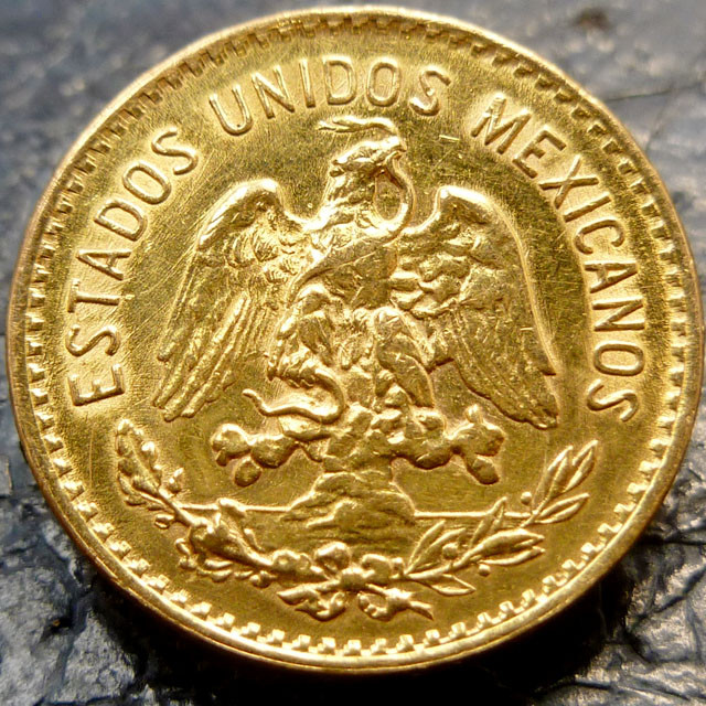 1955 cinco 5 pesos mexican gold coin   CO91456