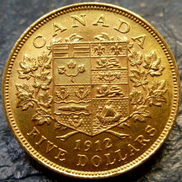 1912 five dollars gold coin Canadian coin  CO1456