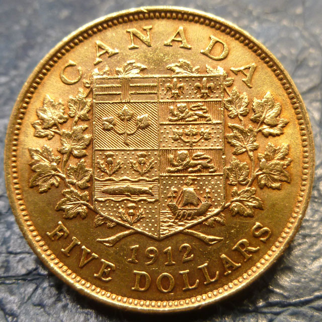 Canadian gold coin 5 dollars 1912   CO1458
