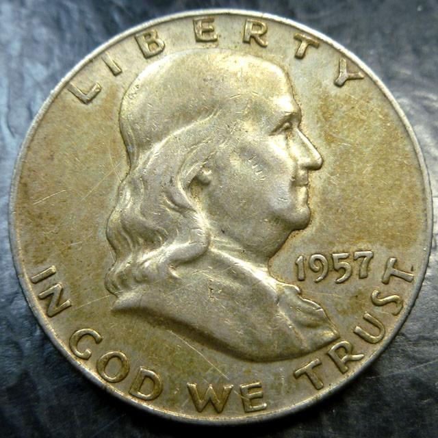 1957 SILVER FRANKLING DOLLAR  HALF DOLLAR  CO 1489
