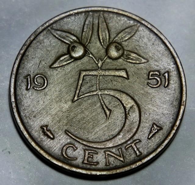 Netherlands 5 Cents 1951 Juliana KM#181