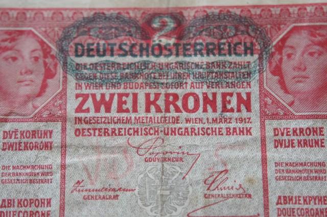 Austria Hungary 2 Kronen 1917 DEUTSCHÖSTERREICH stamped