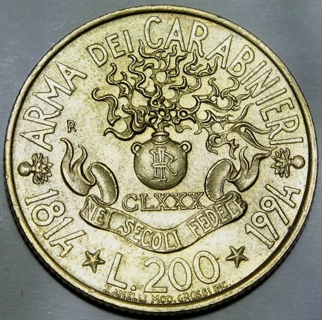 Italy 200 Lire (Carabinieri) 1994 Km#164