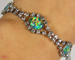 BEAUTIFUL IMO OPAL BRACELET WITH CZ  GTT 1014