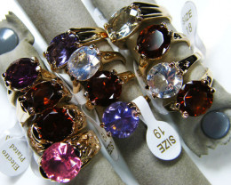 RESELLERS  DEAL12 MIXED  MAN MADE  GEMSTONE RINGS  AAT 749