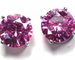 PINK SAPPHIRE STERLING SILVER EAR RING WITH STONE   G1654