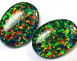 PAIR SYNTHETIC TRIPLET OPALS 18 X 13 MM 12.70 CTS RN 1280
