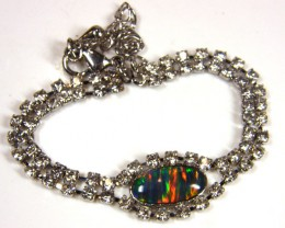ADJUSTABLE STRAP  IMO OPAL BRACELET WITH CZ  GTT 1020