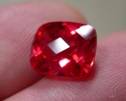CUSHION CHECKBOARD PADPARADSCHA VERNEUIL SAPPHIRE 12x10mm