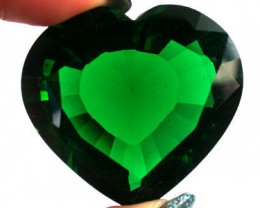 LARGE LAB ZIRCON HEART SHAPE EMERELD 19 0 CARATS GW 1693