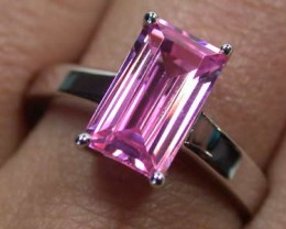 STERLING SILVER WITH FASHION  PINK STONE   SIZE 5  G1648