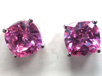 STERLING SILVER EAR RING WITH PINK STONE   G1657