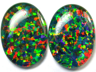 PAIR SYNTHETIC TRIPLET OPALS 18 X 13 MM 12.70 CTS RN 1275
