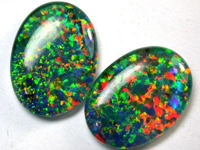 PAIR SYNTHETIC TRIPLET OPALS 18 X 13 MM 12.70 CTS RN 1278