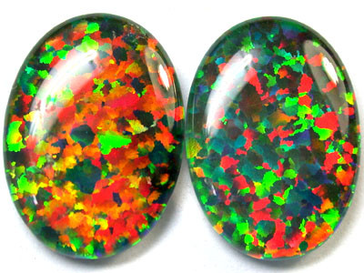 PAIR SYNTHETIC TRIPLET OPALS 18 X 13 MM 12.70 CTS RN 1281