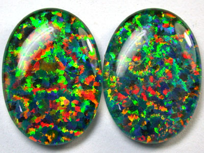 PAIR SYNTHETIC TRIPLET OPALS 18 X 13 MM 12.70 CTS RN 1283