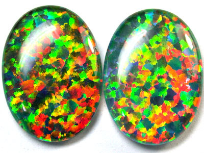 PAIR SYNTHETIC TRIPLET OPALS 18 X 13 MM 12.70 CTS RN 1279