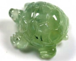 HANDCARVED LUCKY TURTLE PREHNITE  16.0 CARATS RO 1380