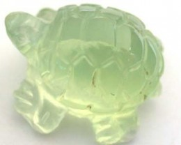 HANDCARVED LUCKY TURTLE PREHNITE  7.1CARATS RO 1400
