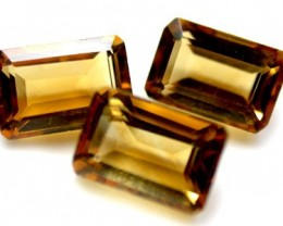 NATURAL CITRINE OCTAGON SHAPE 3pcs 1.95 CARATS ROI 1487