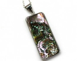 NATURAL PAUA SHELL, STERLING SILVER PENDANT 32.50CTS  AAA230