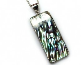 NATURAL PAUA SHELL, STERLING SILVER PENDANT 28.2CTS  AAA233